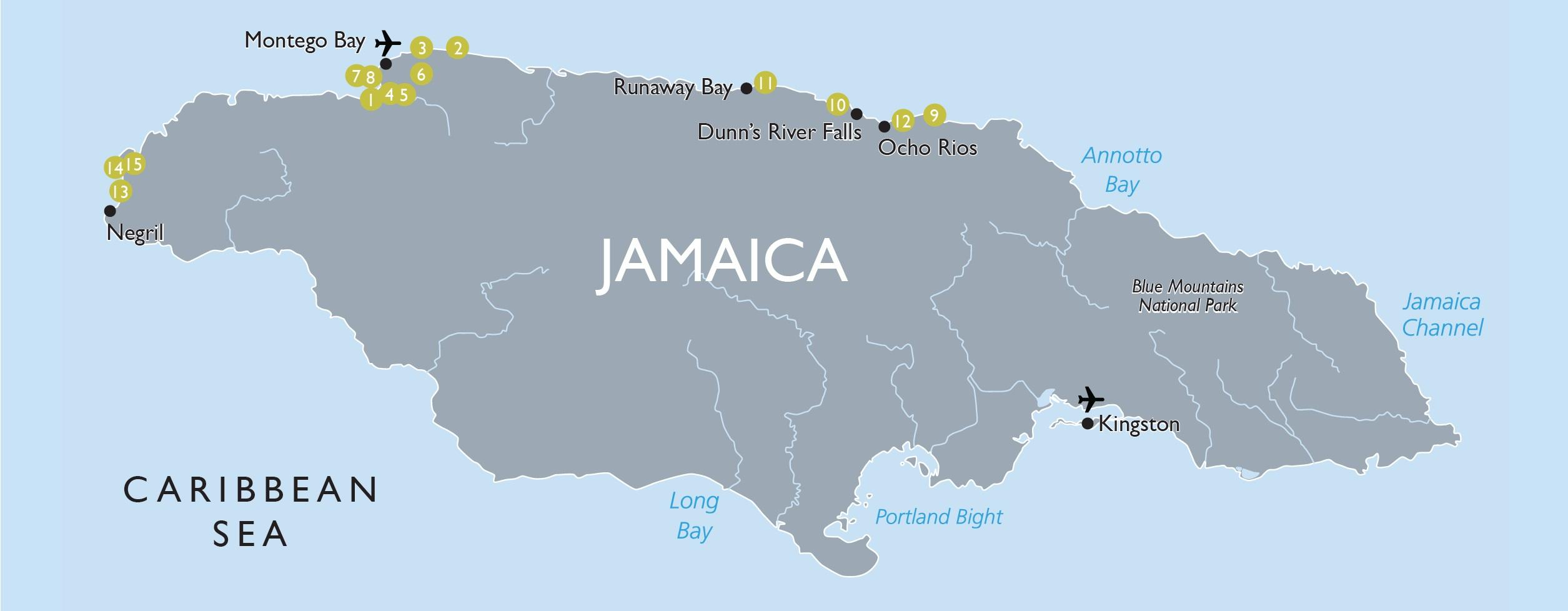 jamaica karta Jamaica tourist map   Karta med sevärdheter i jamaica (Västindien  jamaica karta