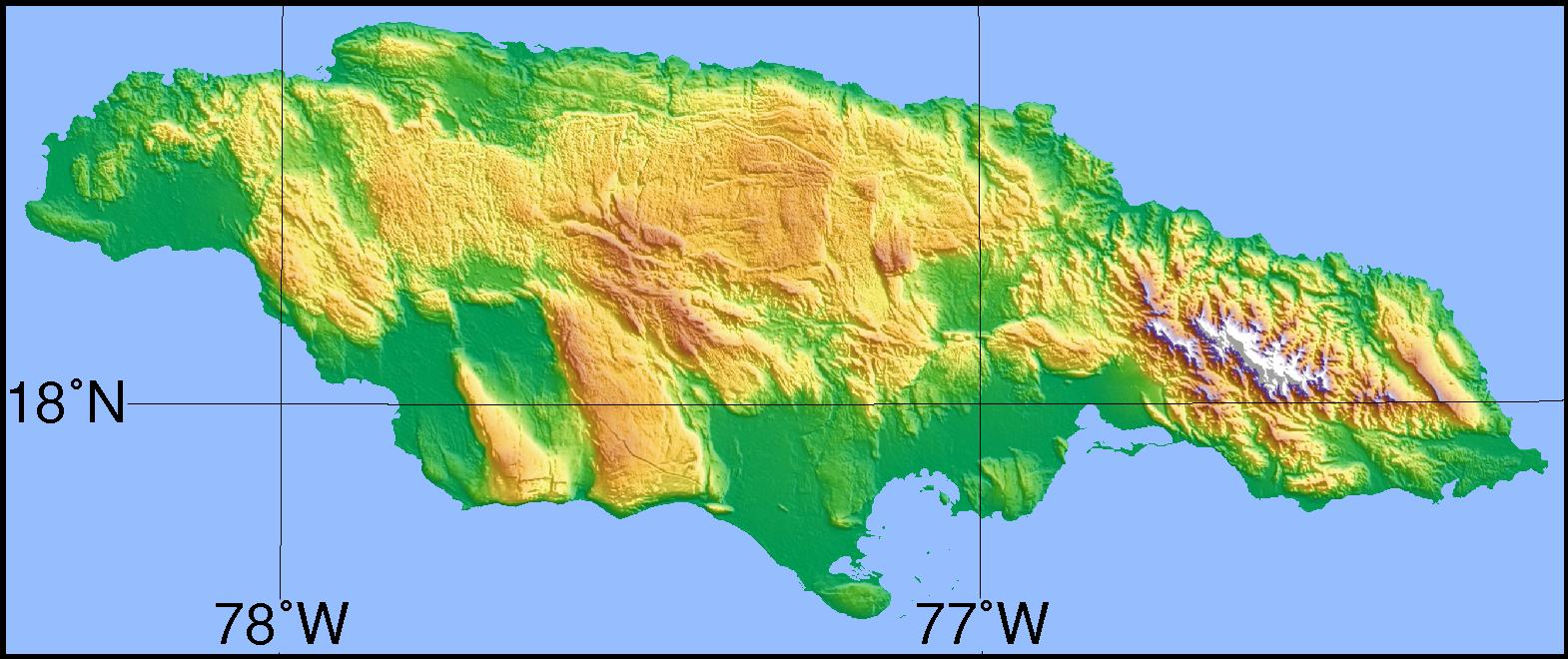 Topografisk Karta Over Jamaica Karta Av Topografiska Jamaica